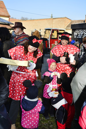 february 14th: Reisenberg, Austria - February 14th 2015: Unidentified masked people by traditional carnival revelry in the tiny village in Lower Austria