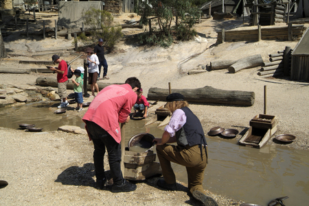 ballarat: Ballarat, Australia - January 23rd 2008: Unidentified people by gold panning on iSovereign Hill, a rebuilt gold village in Victoria