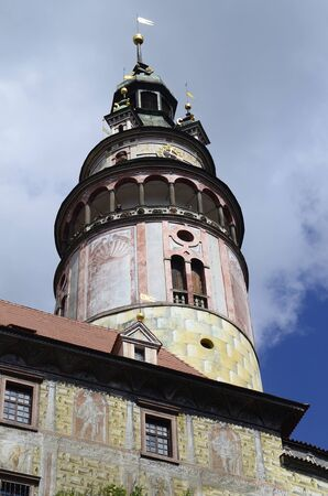 unesco in czech republic: Cesky Krumlov, Czech republic, tower of little castle Krumlov with sgraffito decorated facade in the Unesco World Heritage site in Bohemia Editorial