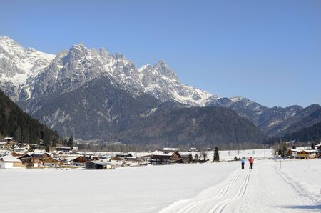 wintersport: Austria, woman on cross country ski track - winter in Tyrol