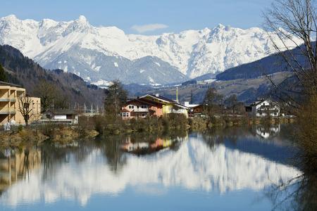 salzach: Austria, reflection of Hochkoenig mountain in river Salzach