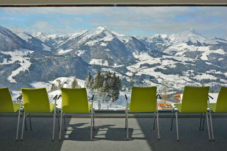lookout: Austria, lookout from accesable St. Jakobs cross to snowy Austrian alps