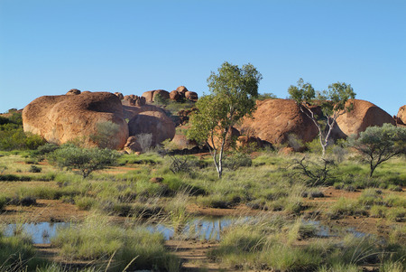 natural landmark: Australia, natural landmark Devils Marbles in Northern Territory Stock Photo