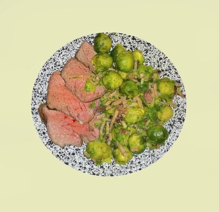 brussel: roatsbeef with brussel sprouts Stock Photo