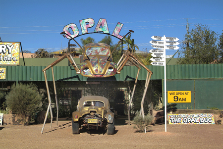 opal: Coober Pedy Australia April 13th 2010: Opal bug Store funny concept for opal shop in the funky village in South Australians outback