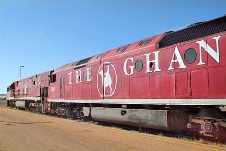 Station Two locomotoves of The Ghan the train through Australia from south to north by stop in Alice Springs: Alice Springs Australia February 28th 2008
