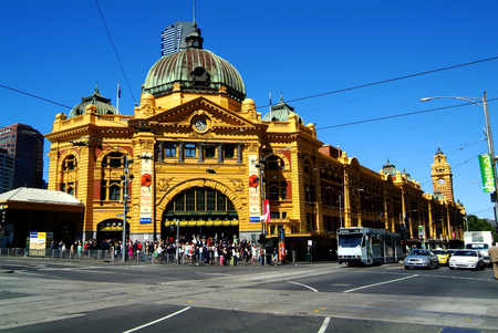 stations: Melbourne Australia November 9th 2006: Flinders Street Station landmark and junction for tram train and bus Editorial