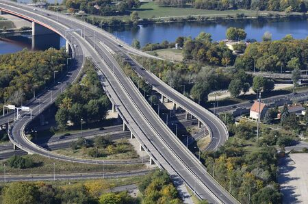 junction: Austria, motorway junction over Danube river in Vienna