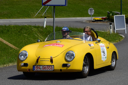 speedster: Lunz Am See, Austria - July 19th 2013: Porsche 356 Speedster on special stage by International Ennstal Classic 2013, a yearly tournament through Austria for vintage cars