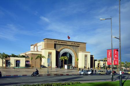 marrakesh: Marrakesh, Morocco - November 22nd 2014: Unidentified people and city railway station aka Gare de Marrakech