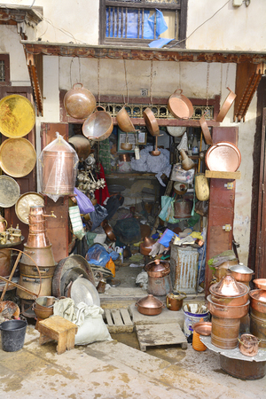 articles: Morocco, workshop with hand made brass articles on place es-Seffarine in souk fes el-Bali Editorial