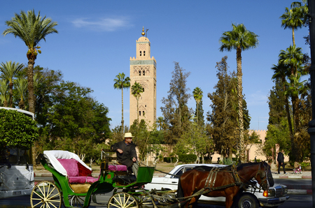 coachman: Marrakesh, Morocco - November 23rd 2014: Unidentified coachman on traditional horse drawn coach in front of Koutoubia mosque Editorial
