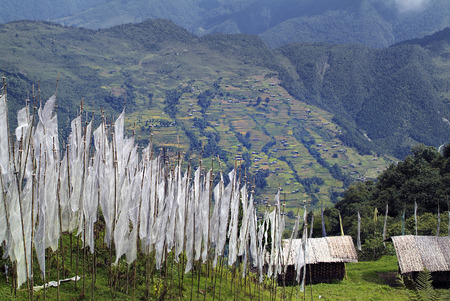 housetop: Bhutan, prayer flags and homes with traditional bamboo housetop Stock Photo