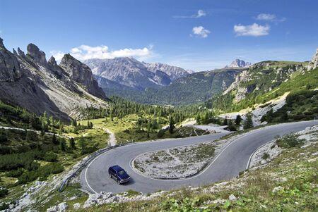 Italy, mountain road to Tre Cime