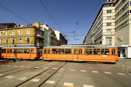 louise: Sofia, Bulgaria - public tram crossing Knyaginya Maria Louise Boulevard