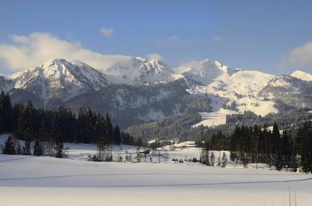 ski resort: Austria, ski resort Fieberbrunn-Hochfilzen in morning haze