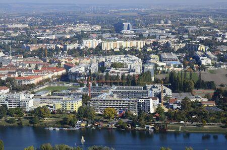 alte: Austria, view over Floridsdorf district and Alte Donau lake