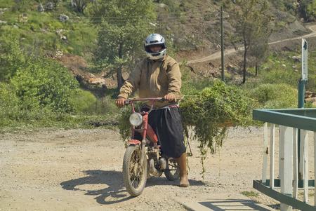 fodder: Antalya, Turkey - April 10th 2009: Unidentified man on bike laden with fodder in a small rural village near Antalya