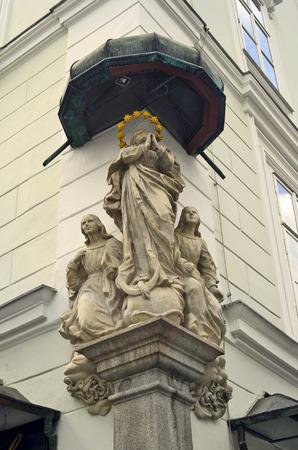 linz: Austria, Linz, figures of saints on exterior wall of a house