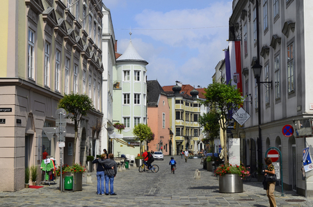 upper austria: Linz, Austria - August 10th 2013: Unidentified people in pedestrian zone of inner district named Altstadt of former cultural capital of Europe 2009 in Upper Austria