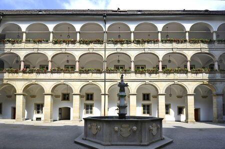 linz: Austria, Linz, arcade court with Planetenbrunnen - fountain in Landhaus building