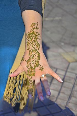 marrakesh: Marrakesh, Morocco, woman with henna tatoo