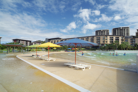 darwin: Australia, Darwin, new homes on the Wharf Precinct - Waterfront - with wave pool named The Lagoon