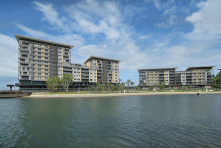 precinct: Darwin, Australia, new homes on the Waterfront precinct with lagoon Editorial