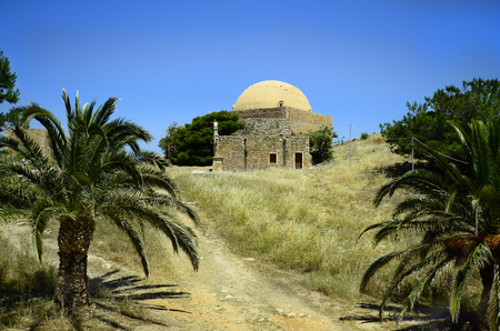 fortezza: Greece, Crete, Retymno, mosque sultan Ibrahim Han and bishops home in fortezza Rethymno Stock Photo