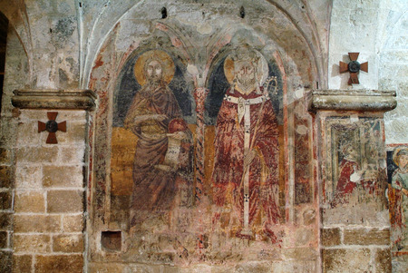 san valentin: Italy, wall painting in crypt of cathedral San Valentin in Bitonto Editorial