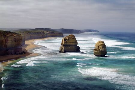 rock formation: Australia, twelfe apostles rock formation in Port Campbell Nationalpark Stock Photo