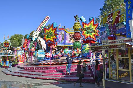 Linz, Austria - October 2nd 2015: Unidentified people on yearly funfair named Urfahraner Markt, market for pleasure and goods