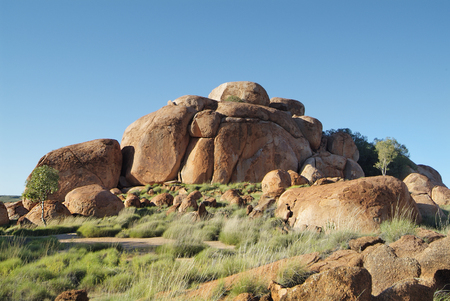 natural landmark: Australia, natural landmark and Aborigines sacred site Devils Marbles in Northern Territory