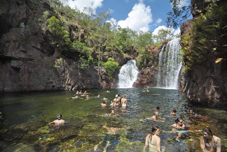 Litchfield, Australia - April 26th 2010: Unidentified people enjoy swimming in Florence Falls in Litchfield Nationalpark in Northern Territory
