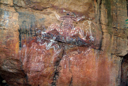 nourlangie: Aborigine Wall Paintings on Nourlangie Rock in Northern Territory Stock Photo