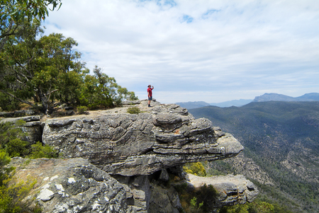 rock formation: Australia, man on lookout over the Balconies rock formation Stock Photo