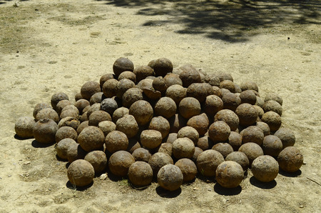 fortezza: Greece, Crete, Retymno, cannon balls in the fortress