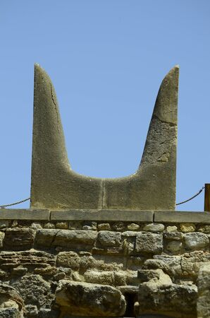 minoan: Greece, Crete, symbolic bull horn in the archealogical site of ancient Minoan palace in Knossos