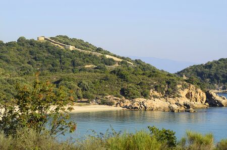 Greece, ancient wall Stageira on Athos Peninsula Stock Photo