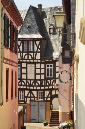 rhine: Germany, Rhine Valley, small street with old building in Ruedesheim