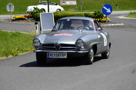 motorsport: Lunz am See, Austria - July 19th July 2013: Vintage car Alfa Romeo Guiletta by yearly motorsport event Ennstal Classic on Public Roads Editorial
