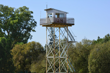 Nicosia, Cyprus - October 20th 2015: UN watch tower on border in the shared city