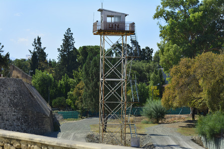 un: Nicosia, Cyprus - October 20th 2015: UN watch tower on border in the shared city