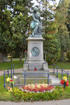 compose: Austria, grave of W.A. Mozart on Zentralfriedhof - one of the biggest cemeteries in Europe