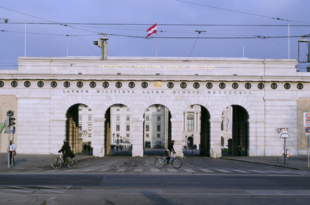 habsburg: Vienna, Austria, Burgtor, entrance to Hofburg building and errected for the heroic fights against Napoleon, the Hofburg was royal residence in the Habsburg Monarchy Editorial
