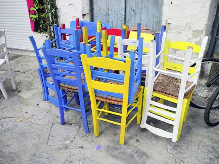 skiathos: Greece, Skiathos, colourful chairs Stock Photo