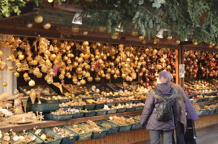 kiosk: Vienna, Austria - kiosk with traditional decorations for the christmas tree on the christmas market in Vienna