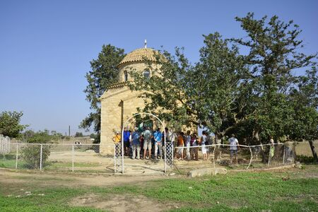 barnabas: Famagusta, Cyprus - October 16th 2015: Group with unidentified tourists in front of Saint Barnabas monastery Editorial