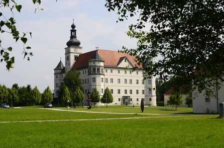 notorious: Alkoven, Austria - July 6th 2013: Renaissance castle Hartheim became notorious as one of the Nazi euthanasia killing centers in World War II, it is now a home for mentally handicapped people and memorial site Editorial