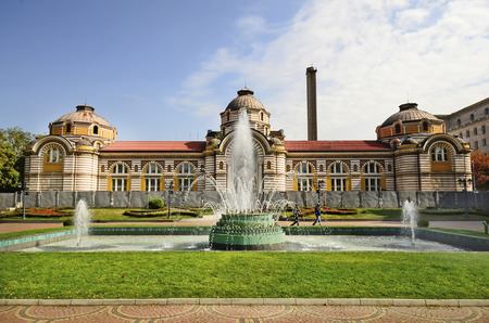 Sofia, Bulgaria, park with fountain in front of the Sofia Public Mineral Bath Editorial